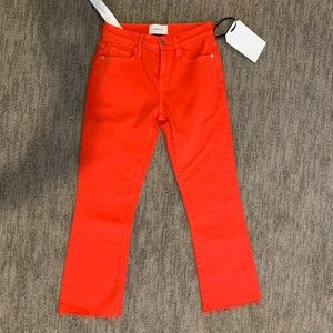 CURRENT/ELLIOTT fiery red kick jean frayed hem 24